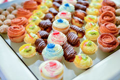被多样化的蛋糕盛肉盘 图库摄影