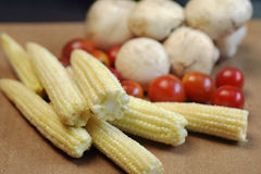 被安排的小玉米玉米棒 库存图片