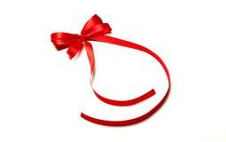 被安排的弓配件箱复制礼品红色丝带空间文本 免版税图库摄影