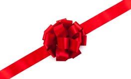 被安排的弓配件箱复制礼品红色丝带空间文本 免版税库存照片