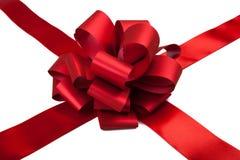 被安排的弓配件箱复制礼品红色丝带空间文本 库存照片