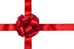被安排的弓配件箱复制礼品红色丝带空间文本 免版税库存图片