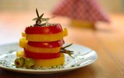 被安排的蕃茄用辣椒粉 图库摄影