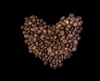 被安排的豆咖啡重点形状 免版税库存照片