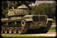被定调子的二战纪念M60陆军坦克 免版税库存图片