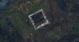 被射击的空中移动式摄影车:骑士Templar的古老城堡的废墟 影视素材