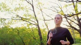 被射击的Steadicam慢动作:健康人生跑步在春天森林的妇女,听到音乐 股票视频