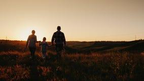 被射击的Steadicam慢动作:一个年轻三口之家人风化日出或日落 剪影,后方 影视素材