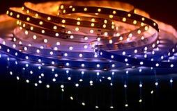 被带领的光亮的二极管光 主街上 免版税库存照片