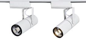 被带领的斑点光或LED轨道光 库存照片