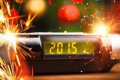被带领的显示与2015个新年 免版税库存图片