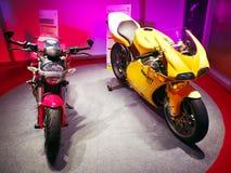 被带领的装饰点燃摩托车陈列室Ecolighttech亚洲2014年 库存照片