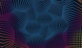 被带领的轻的数字式样式 与小点的五颜六色的抽象背景 迪斯科墙壁 免版税库存图片