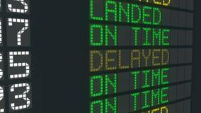 被延迟的飞行机场桌标志,国际到来宣扬日程表延迟 库存例证