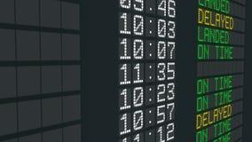被延迟的飞行机场桌标志,国际到来预定延时 向量例证