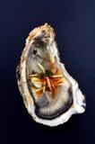 被开张的牡蛎用辣椒和姜 库存图片