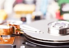 被开张的硬盘驱动器 免版税库存照片