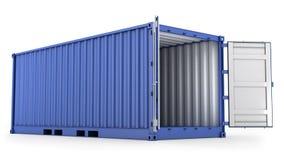 被开张的蓝色容器运费 免版税库存照片