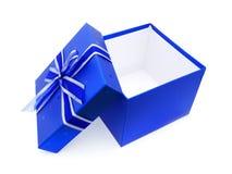 被开张的蓝色框礼品 免版税库存照片