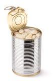 被开张的豆装罐白色 库存图片