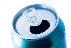 被开张的铝瓶 免版税图库摄影
