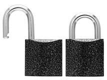 被开张的闭合的锁定 免版税库存图片