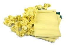 被弄皱的笔记本纸张 免版税库存图片