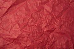 被弄皱的红色纸纹理 免版税库存图片