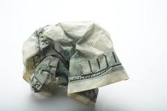 被弄皱的美元一百 免版税库存图片