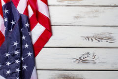 被弄皱的美国国旗 库存照片