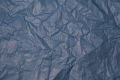 被弄皱的蓝纸纹理 图库摄影