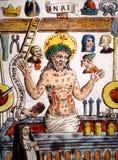 被弄脏的在十字架上钉死玻璃中世纪 免版税库存图片