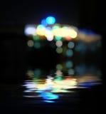 被弄脏的城市在晚上, bokeh背景 库存图片
