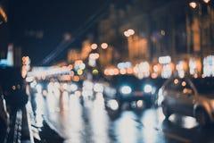 被弄脏的城市在晚上 Bokeh 免版税图库摄影