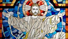 被弄脏的基督教会玻璃耶稣窗格 免版税库存照片