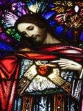 被弄脏的基督玻璃图象 库存图片