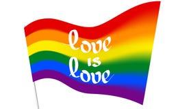 被弄脏的彩虹旗子- LGBT和LGBTQ自豪感以文本爱是爱 快乐女同性恋的变性彩虹被弄脏的波浪背景 皇族释放例证