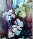 被弄脏的水彩艺术背景五颜六色的花花束虹膜未充分干燥即送回的洗好的衣服 免版税库存图片