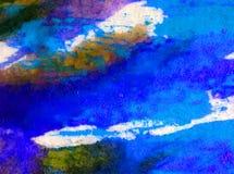 被弄脏的水彩艺术背景摘要创造性的海水下的冲程五颜六色的织地不很细未充分干燥即送回的洗好的衣服 库存照片