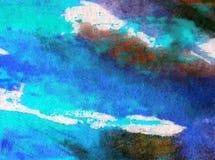 被弄脏的水彩艺术背景摘要创造性的海海洋五颜六色的织地不很细未充分干燥即送回的洗好的衣服 库存照片