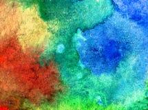 被弄脏的水彩艺术背景摘要沿海蓝色褐色绿色溢出五颜六色的织地不很细未充分干燥即送回的洗好的衣服 库存照片