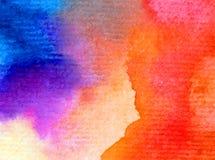 被弄脏的水彩艺术背景摘要飞溅天空日出黄色蓝色紫罗兰色五颜六色的织地不很细未充分干燥即送回的洗好的衣服 免版税图库摄影