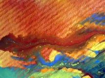 被弄脏的水彩艺术背景摘要飞溅溢出纺织品样式红色蓝色黄色五颜六色的织地不很细未充分干燥即送回的洗好的衣服 免版税库存图片