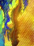 被弄脏的水彩艺术背景摘要飞溅溢出纺织品样式蓝色黄色五颜六色的织地不很细未充分干燥即送回的洗好的衣服 图库摄影