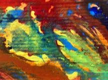 被弄脏的水彩艺术背景摘要飞溅溢出纺织品样式蓝色黄色五颜六色的织地不很细未充分干燥即送回的洗好的衣服 库存照片