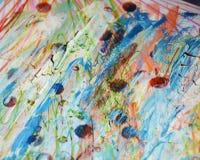 被弄脏的泥泞的五颜六色的桃红色黄色蓝色闪耀的斑点,蜡状的背景,创造性的设计 免版税图库摄影
