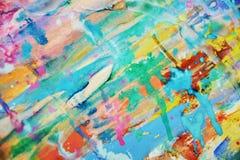 被弄脏的泥泞的桃红色蓝色橙黄色淡色watercor斑点,创造性的设计 免版税库存照片
