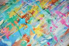 被弄脏的泥泞的桃红色蓝色蜡状的watercor斑点,创造性的设计 免版税库存图片