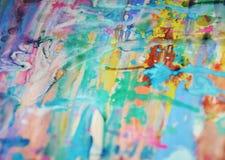 被弄脏的泥泞的桃红色蓝色黄色淡色watercor斑点,创造性的设计 库存照片