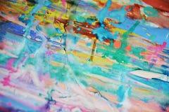 被弄脏的泥泞的绿色桃红色蓝色黄色淡色watercor斑点,创造性的设计 免版税库存照片